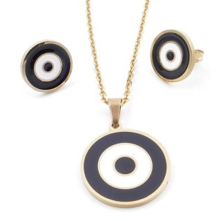 49632-02 EVIL EYE SET OF PENDANT, CHAIN AND EARRINGS IN STAINLESS STEEL