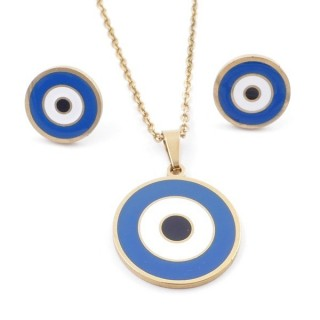 49632-03 EVIL EYE SET OF PENDANT, CHAIN AND EARRINGS IN STAINLESS STEEL