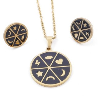 49632-04 EVIL EYE SET OF PENDANT, CHAIN AND EARRINGS IN STAINLESS STEEL