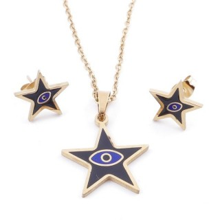 49632-05 EVIL EYE SET OF PENDANT, CHAIN AND EARRINGS IN STAINLESS STEEL