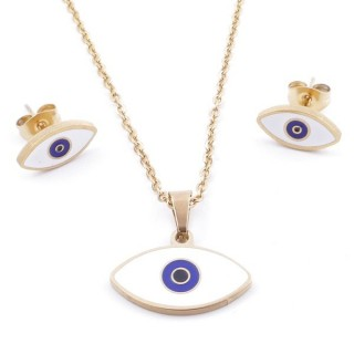 49632-06 EVIL EYE SET OF PENDANT, CHAIN AND EARRINGS IN STAINLESS STEEL