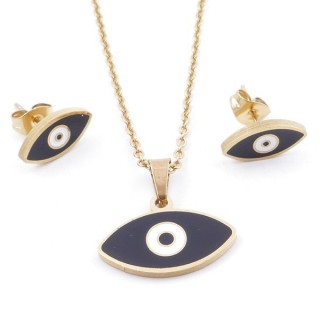 49632-07 EVIL EYE SET OF PENDANT, CHAIN AND EARRINGS IN STAINLESS STEEL