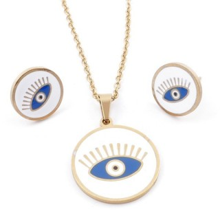 49632-08 EVIL EYE SET OF PENDANT, CHAIN AND EARRINGS IN STAINLESS STEEL