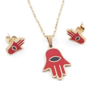 49632-09 EVIL EYE SET OF PENDANT, CHAIN AND EARRINGS IN STAINLESS STEEL
