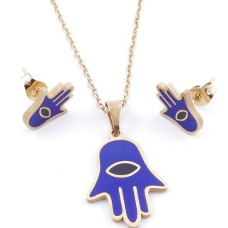 49632-10 EVIL EYE SET OF PENDANT, CHAIN AND EARRINGS IN STAINLESS STEEL