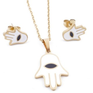 49632-12 EVIL EYE SET OF PENDANT, CHAIN AND EARRINGS IN STAINLESS STEEL