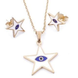 49632-16 EVIL EYE SET OF PENDANT, CHAIN AND EARRINGS IN STAINLESS STEEL