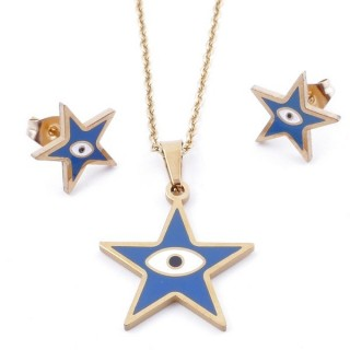 49632-17 EVIL EYE SET OF PENDANT, CHAIN AND EARRINGS IN STAINLESS STEEL