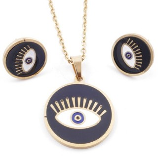 49632-18 EVIL EYE SET OF PENDANT, CHAIN AND EARRINGS IN STAINLESS STEEL