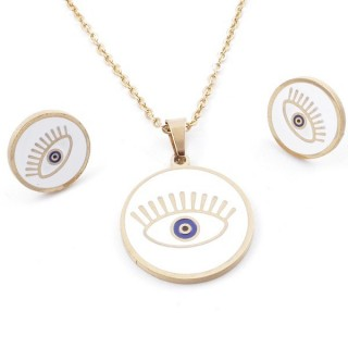 49632-19 EVIL EYE SET OF PENDANT, CHAIN AND EARRINGS IN STAINLESS STEEL