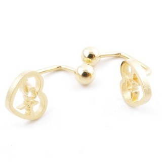 49587-02 STAINLESS STEEL BARBELL EARRINGS WITH BALL AND CHARM