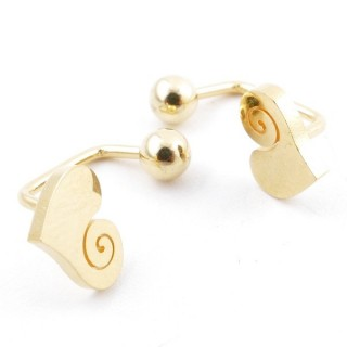 49587-03 STAINLESS STEEL BARBELL EARRINGS WITH BALL AND CHARM