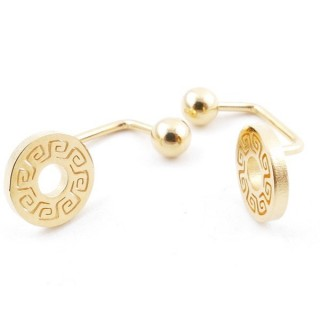 49587-06 STAINLESS STEEL BARBELL EARRINGS WITH BALL AND CHARM