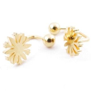 49587-07 STAINLESS STEEL BARBELL EARRINGS WITH BALL AND CHARM
