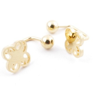49587-10 STAINLESS STEEL BARBELL EARRINGS WITH BALL AND CHARM