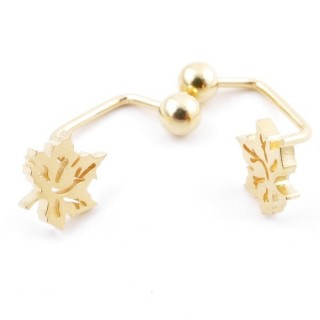 49587-12 STAINLESS STEEL BARBELL EARRINGS WITH BALL AND CHARM