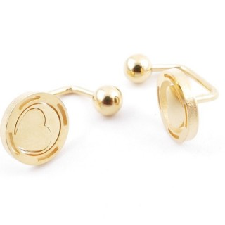 49587-13 STAINLESS STEEL BARBELL EARRINGS WITH BALL AND CHARM