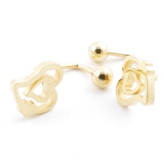 49587-14 STAINLESS STEEL BARBELL EARRINGS WITH BALL AND CHARM