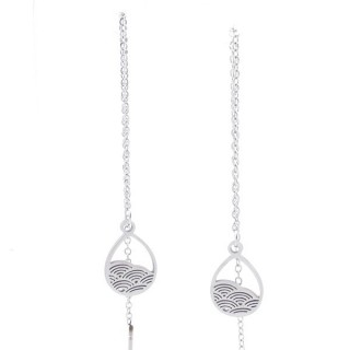 49621-07 STAINLESS STEEL EARRINGS MADE OF CHAIN AND CHARM