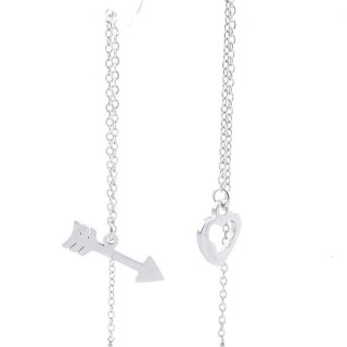 49621-08 STAINLESS STEEL EARRINGS MADE OF CHAIN AND CHARM