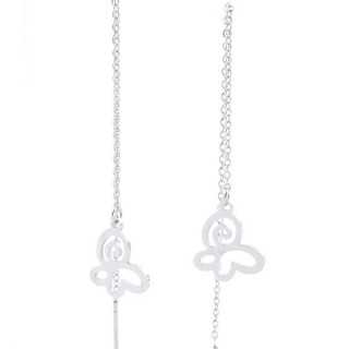 49621-09 STAINLESS STEEL EARRINGS MADE OF CHAIN AND CHARM