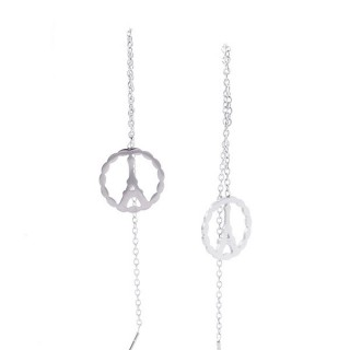 49621-11 STAINLESS STEEL EARRINGS MADE OF CHAIN AND CHARM