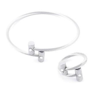 49576-04 SET OF LADIES MATCHING ADJUSTABLE BRACLET & RING IN STAINLESS STEEL WIRE
