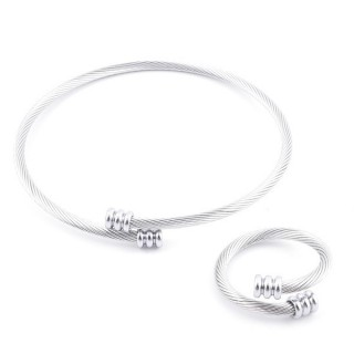 49576-06 SET OF LADIES MATCHING ADJUSTABLE BRACLET & RING IN STAINLESS STEEL WIRE