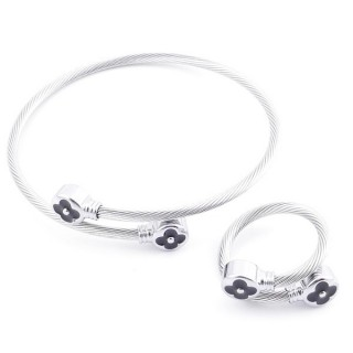 49576-08 SET OF LADIES MATCHING ADJUSTABLE BRACLET & RING IN STAINLESS STEEL WIRE