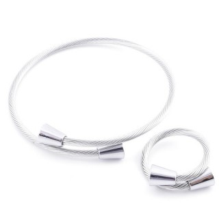 49576-10 SET OF LADIES MATCHING ADJUSTABLE BRACLET & RING IN STAINLESS STEEL WIRE