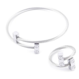 49576-11 SET OF LADIES MATCHING ADJUSTABLE BRACLET & RING IN STAINLESS STEEL WIRE