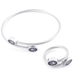 49576-12 SET OF LADIES MATCHING ADJUSTABLE BRACLET & RING IN STAINLESS STEEL WIRE