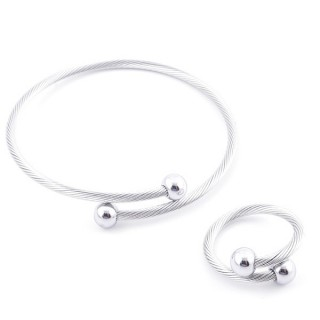 49576-14 SET OF LADIES MATCHING ADJUSTABLE BRACLET & RING IN STAINLESS STEEL WIRE