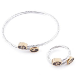 49576-19 SET OF LADIES MATCHING ADJUSTABLE BRACLET & RING IN STAINLESS STEEL WIRE