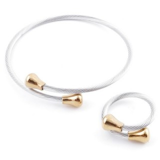 49576-20 SET OF LADIES MATCHING ADJUSTABLE BRACLET & RING IN STAINLESS STEEL WIRE