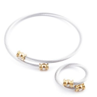 49576-23 SET OF LADIES MATCHING ADJUSTABLE BRACLET & RING IN STAINLESS STEEL WIRE