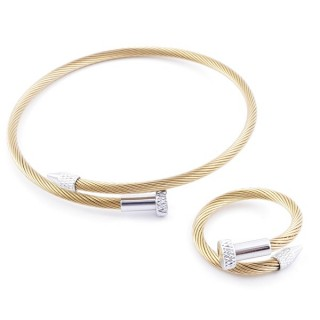 49572-05 SET OF LADIES MATCHING ADJUSTABLE BRACLET & RING IN STAINLESS STEEL WIRE