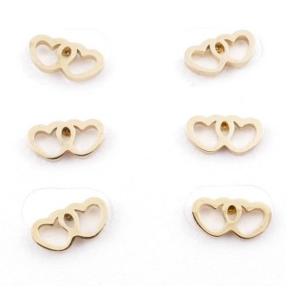 31203-62 PACK OF 3 PAIRS OF STAINLESS STEEL POST EARRINGS IN GOLD COLOUR