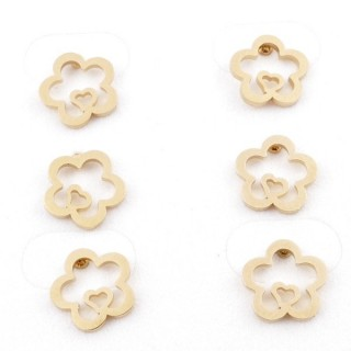 31203-66 PACK OF 3 PAIRS OF STAINLESS STEEL POST EARRINGS IN GOLD COLOUR