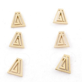 31203-67 PACK OF 3 PAIRS OF STAINLESS STEEL POST EARRINGS IN GOLD COLOUR