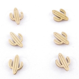 31203-70 PACK OF 3 PAIRS OF STAINLESS STEEL POST EARRINGS IN GOLD COLOUR