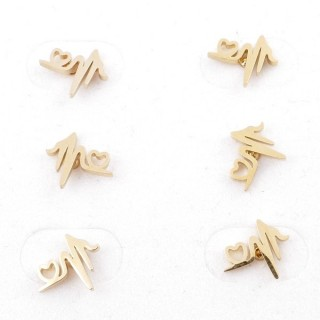 31203-71 PACK OF 3 PAIRS OF STAINLESS STEEL POST EARRINGS IN GOLD COLOUR