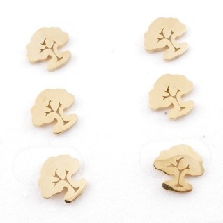 31203-72 PACK OF 3 PAIRS OF STAINLESS STEEL POST EARRINGS IN GOLD COLOUR