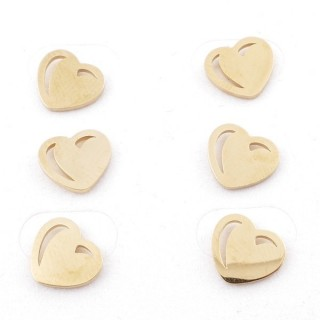 31203-73 PACK OF 3 PAIRS OF STAINLESS STEEL POST EARRINGS IN GOLD COLOUR