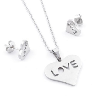35584-87 SET OF CHAIN, PENDANT AND MATCHING EARRINGS IN STAINLESS STEEL