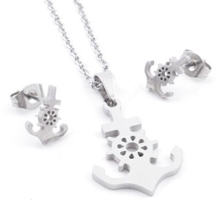 35584-88 SET OF CHAIN, PENDANT AND MATCHING EARRINGS IN STAINLESS STEEL
