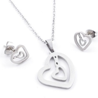 35584-89 SET OF CHAIN, PENDANT AND MATCHING EARRINGS IN STAINLESS STEEL