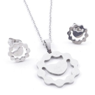 35584-92 SET OF CHAIN, PENDANT AND MATCHING EARRINGS IN STAINLESS STEEL