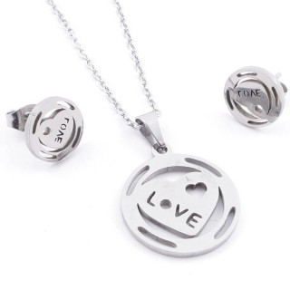 35584-93 SET OF CHAIN, PENDANT AND MATCHING EARRINGS IN STAINLESS STEEL