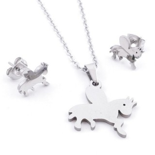 35584-94 SET OF CHAIN, PENDANT AND MATCHING EARRINGS IN STAINLESS STEEL
